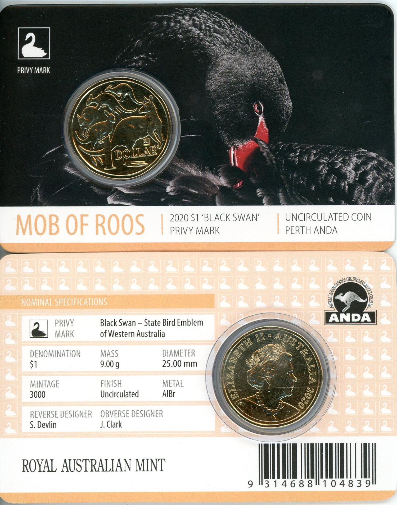 Thumbnail for 2020 Mob of Roos $1 with Black Swan Privy Mark Perth ANDA