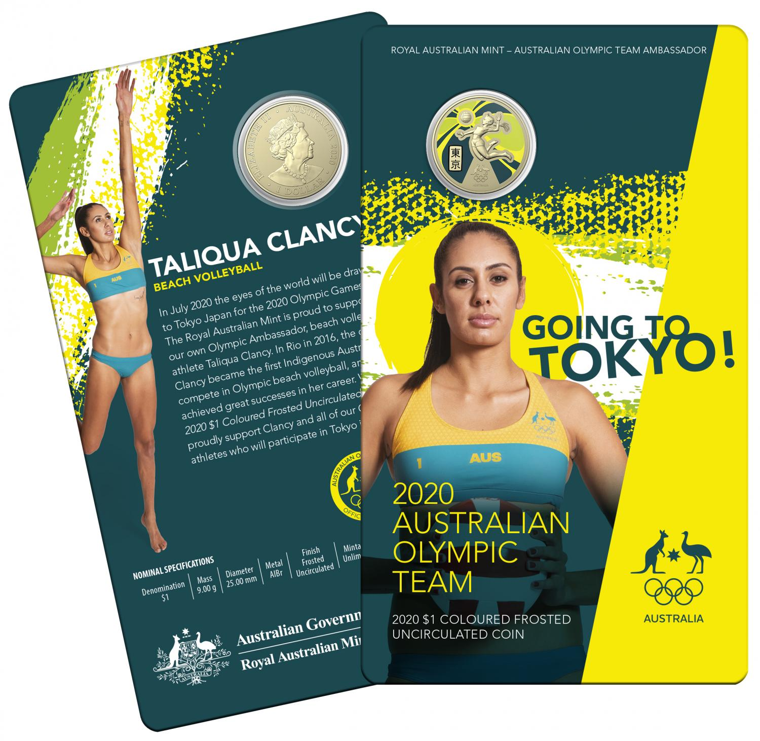 Thumbnail for 2020 Australian Olympic Team Coloured One Dollar Uncirculated Coin