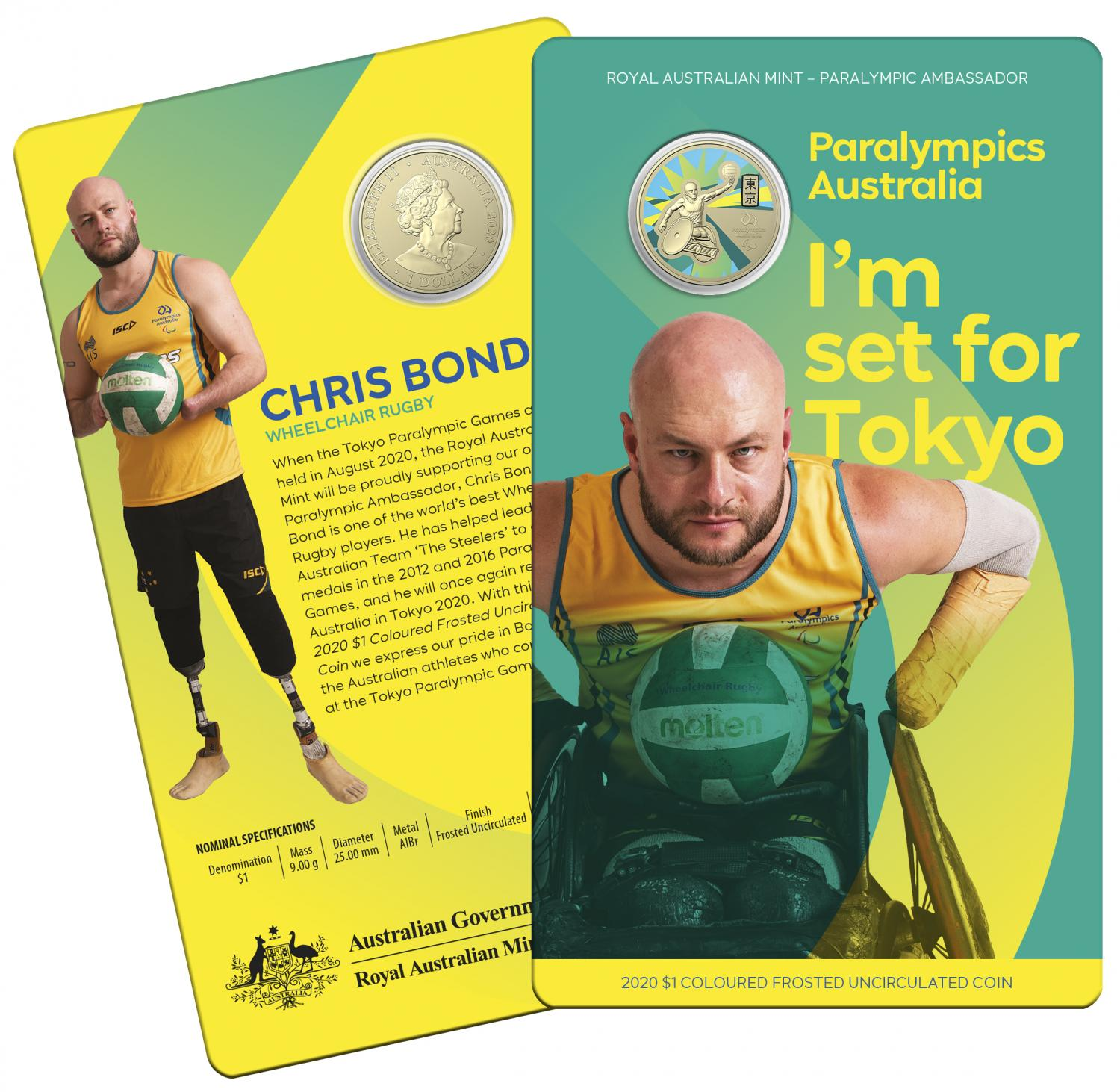 2020 Australian Paralympics Coloured One Dollar Uncirculated Coin