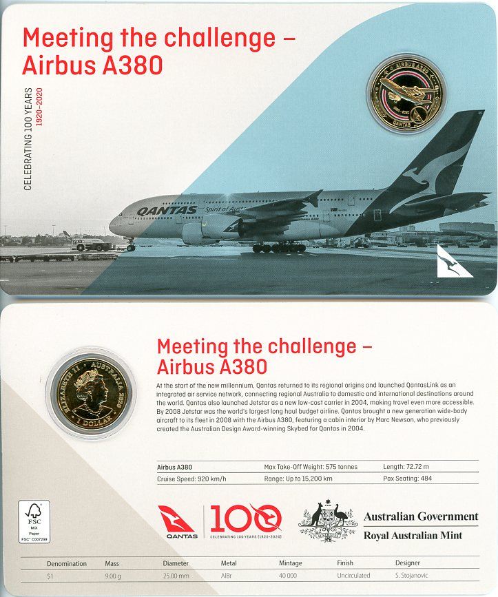 Thumbnail for 2020 Qantas Centenary $1 Coloured UNC Coin - Meeting the Challenge Airbus A380