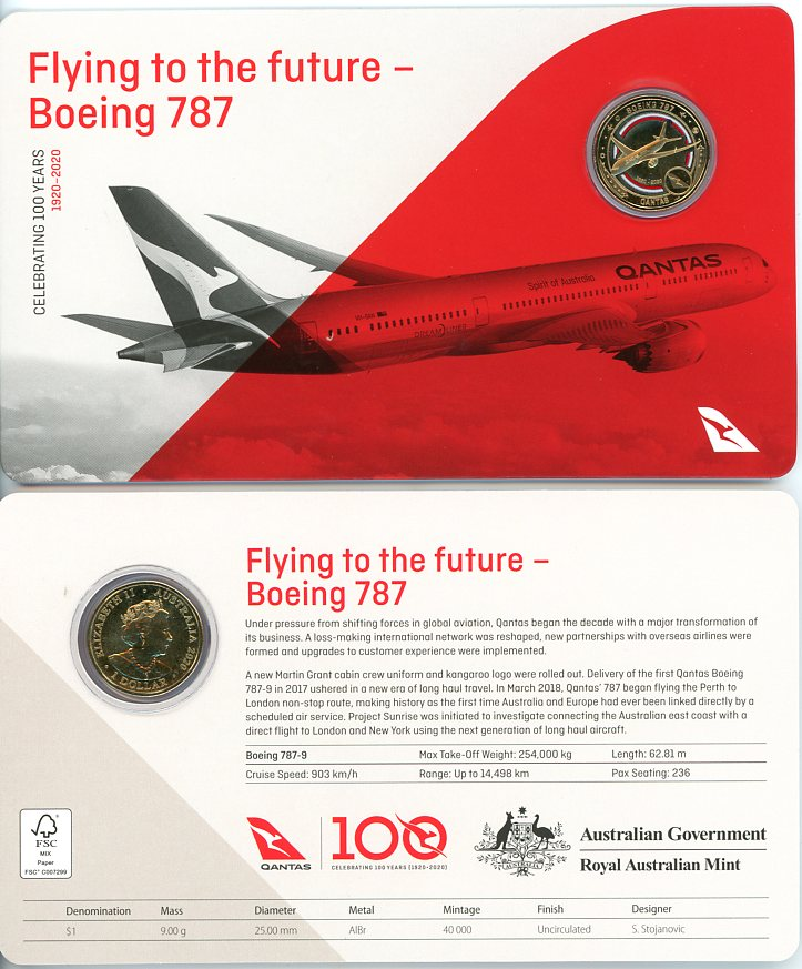 Thumbnail for 2020 Qantas Centenary $1 Coloured $1 UNC Coin - Flying to the Future Boeing 787