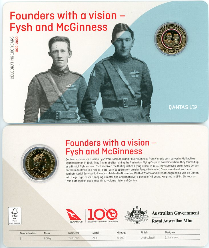 Thumbnail for 2020 Qantas Centenary $1 Coloured UNC Coin - Founders With A Vision Fysh & McGinness