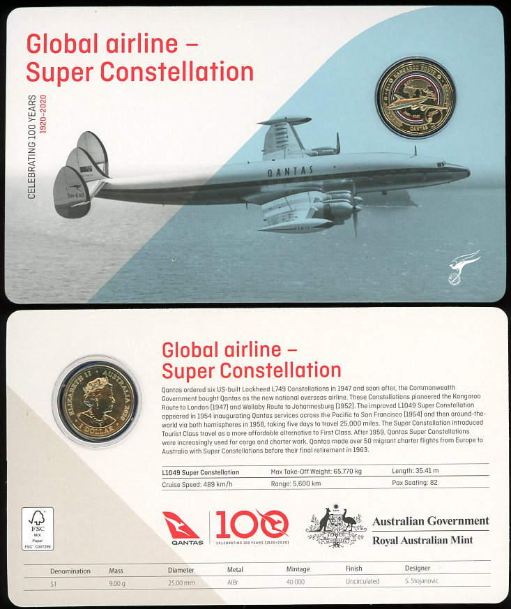 Thumbnail for 2020 Qantas Centenary $1 Coloured UNC Coin - Global Airline Super Constellation