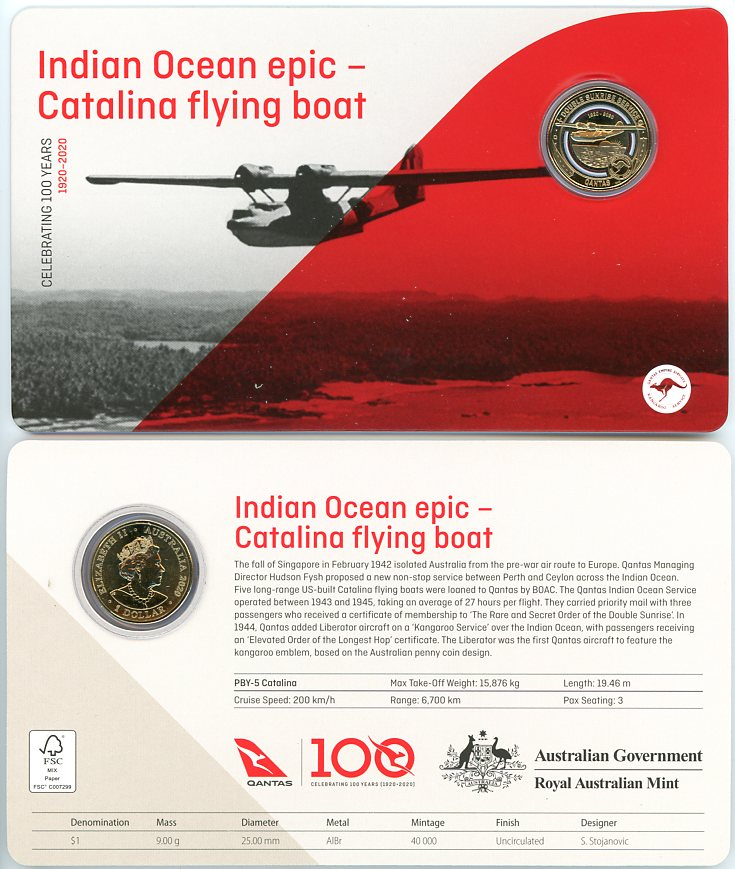 Thumbnail for 2020 Qantas Centenary $1 Coloured UNC Coin - Indian Ocean Epic Catalina Flying Boat