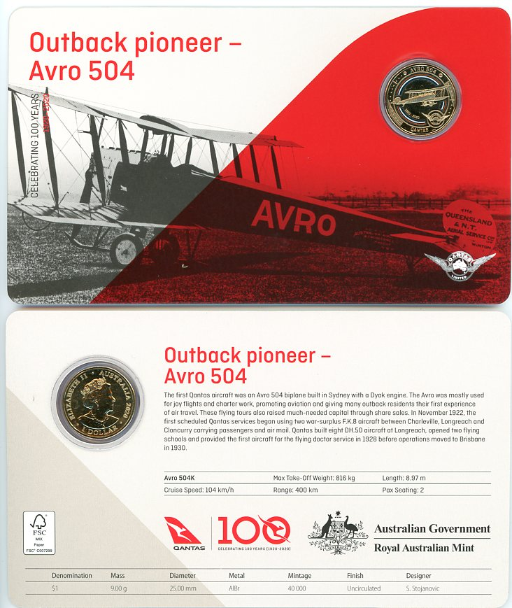 Thumbnail for 2020 Qantas Centenary $1 Coloured UNC Coin - Outback Pioneer Avro 504