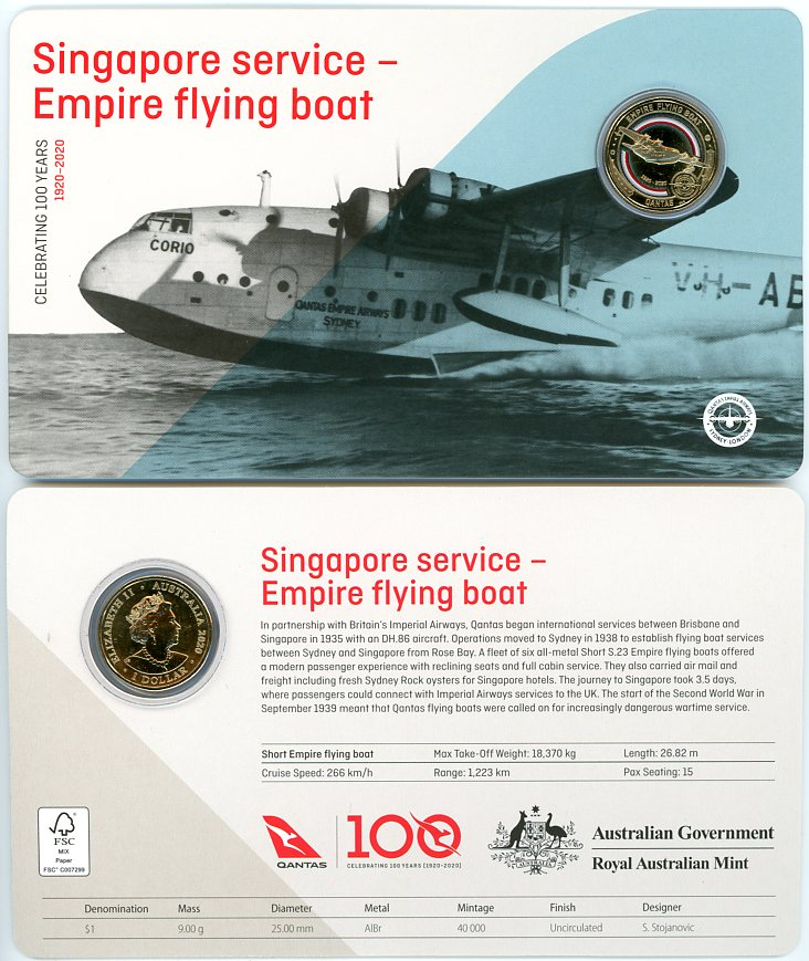 Thumbnail for 2020 Qantas Centenary $1 Coloured UNC Coin - Singapore Service Empire Flying Boat