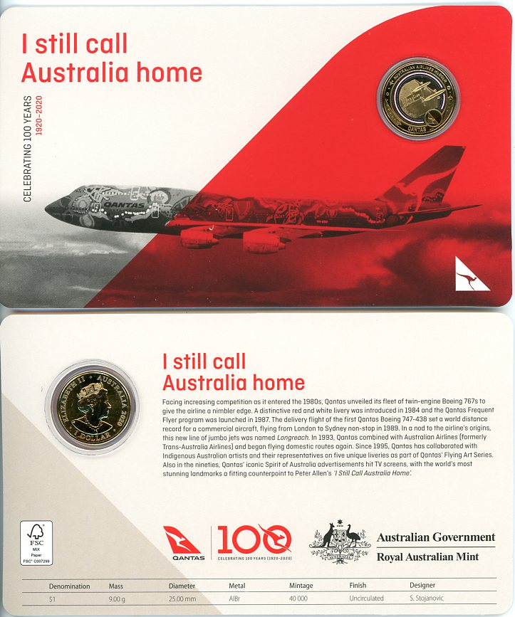 Thumbnail for 2020 Qantas Centenary $1 Coloured UNC Coin - I Still Call Australia Home