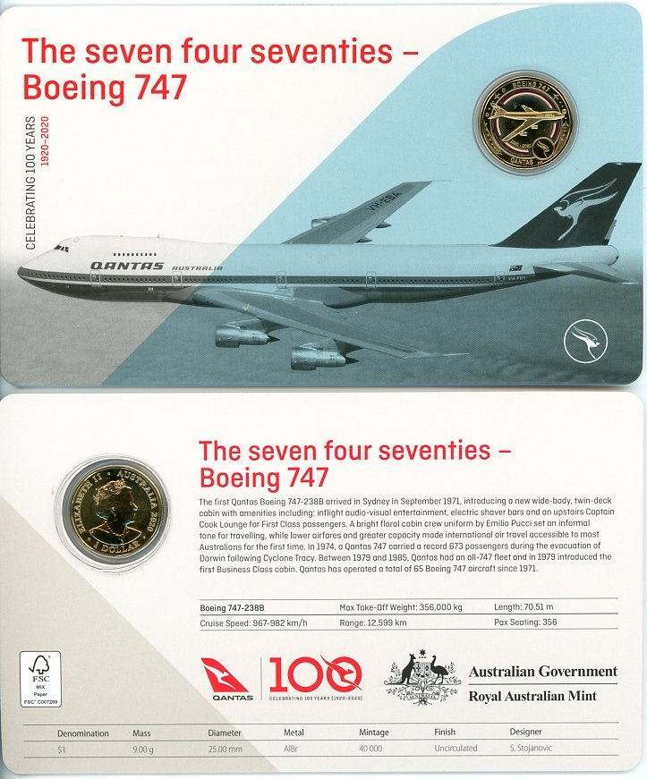 Thumbnail for 2020 Qantas Centenary $1 Coloured UNC Coin - The Seven Four Seventies Boeing 747