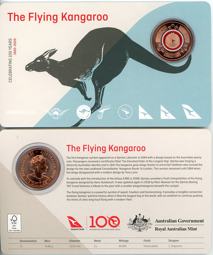 Thumbnail for 2020 Qantas Centenary $1 Coloured UNC Coin - The Flying Kangaroo