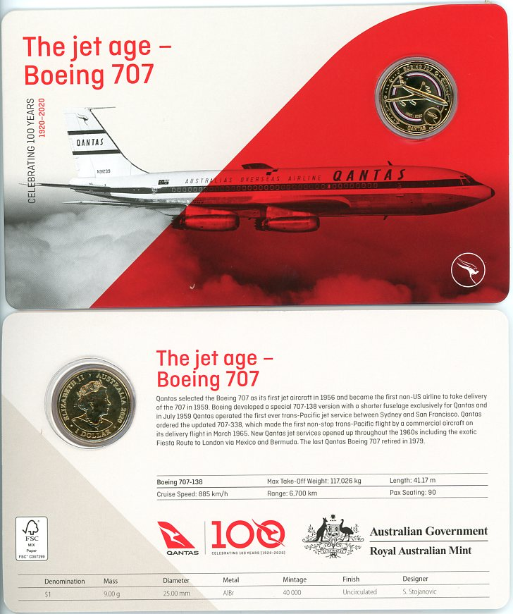 Thumbnail for 2020 Qantas Centenary $1 Coloured UNC Coin - The Jet Age Boeing 707