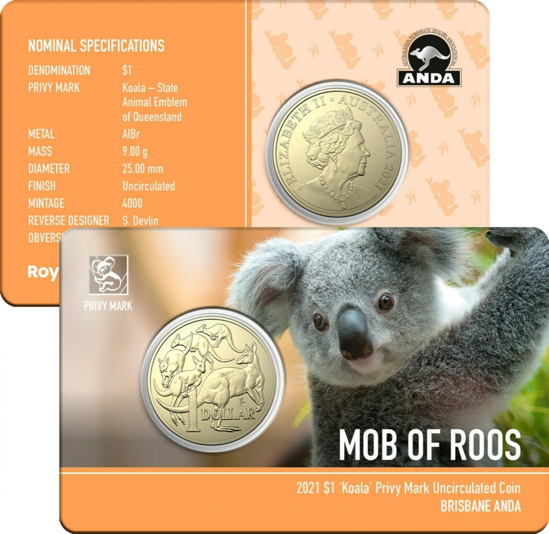 Thumbnail for 2021 Australian Mob of Roos $1 Coin - Koala Privymark - Brisbane ANDA Show