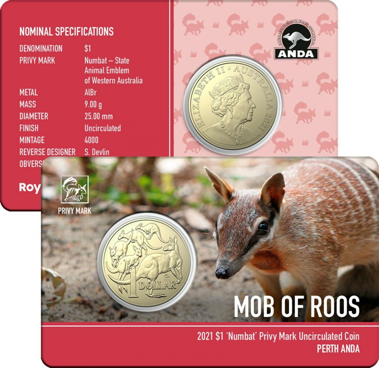 Thumbnail for 2021 Australian Mob of Roos $1 Coin - Numbat Privymark - Perth ANDA Show