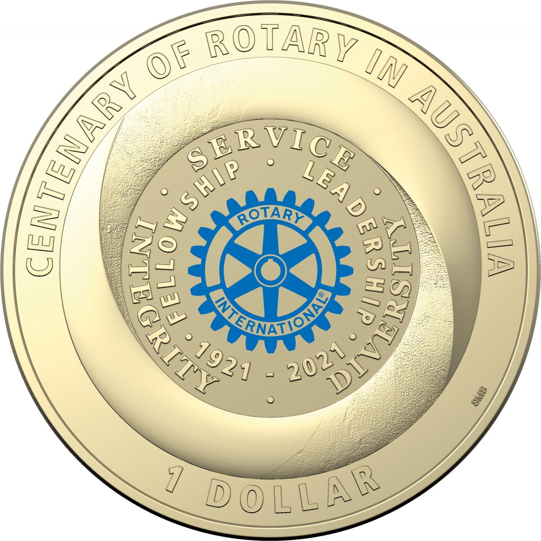 Thumbnail for 2021 Centenary of Rotary Australia - $1 UNC AlBr Coloured Coin on Card