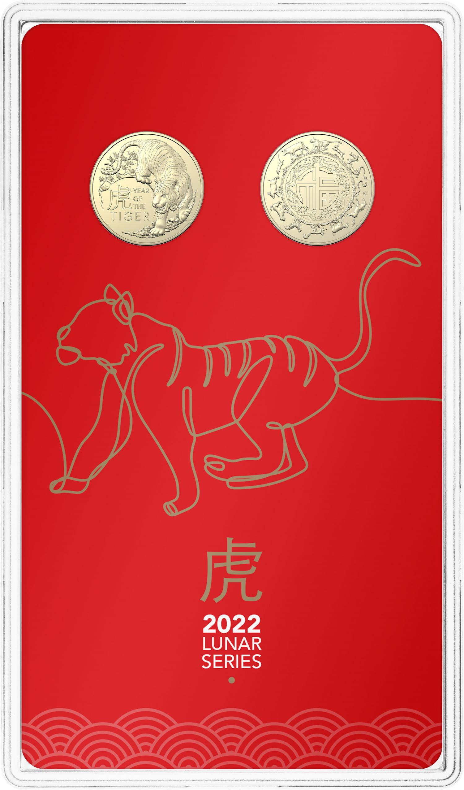 Thumbnail for 2022 $1 Lunar Year of the Tiger AlBr UNC Two Coin Set