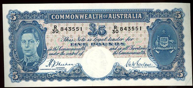 Thumbnail for 1939 Five Pound Note Sheehan - McFarlane R30 843551 EF