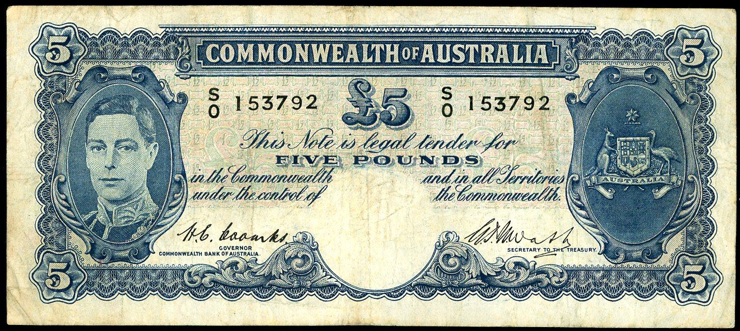 Thumbnail for 1949 Five Pound Note Coombs - Watt SO 153792 Fine