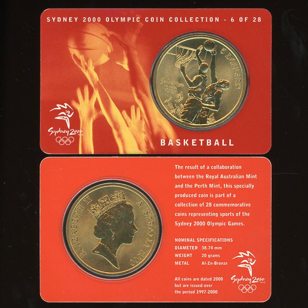 Thumbnail for 2000 Sydney Olympics Basketball $5 Coin Uncirculated
