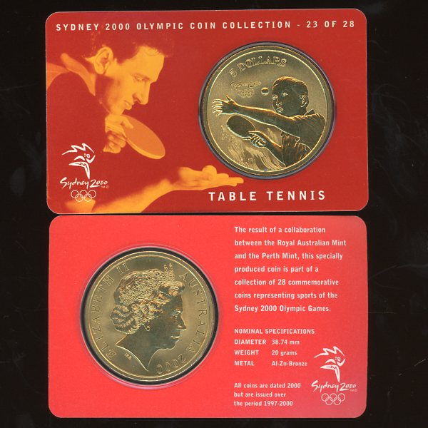 Thumbnail for 2000 Sydney Olympics Table Tennis $5 Coin Uncirculated