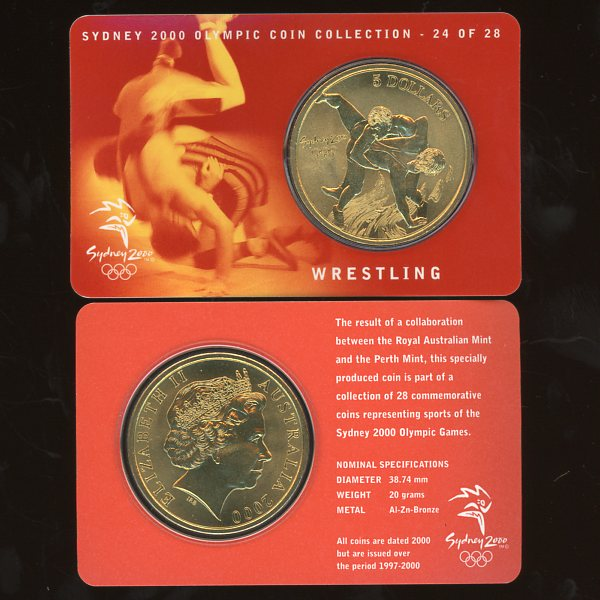 Thumbnail for 2000 Sydney Olympics Wrestling $5 Coin Uncirculated