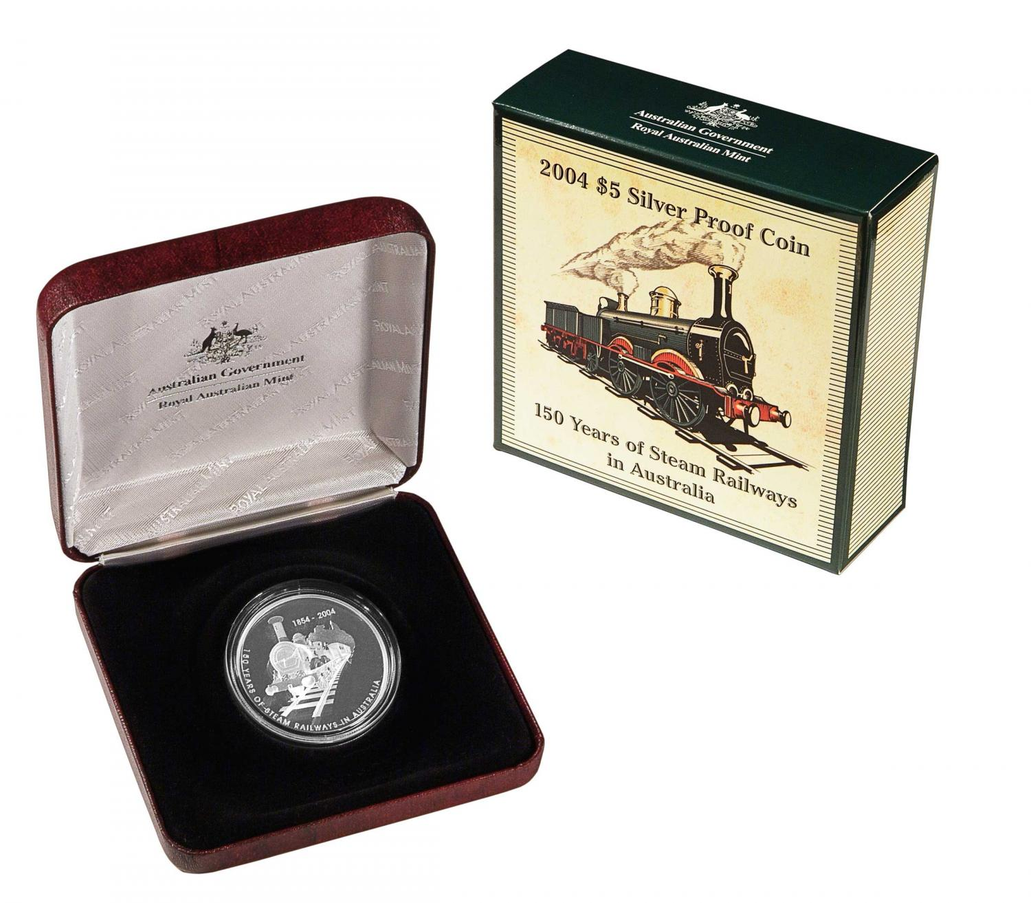 Thumbnail for 2004 Five Dollar Silver Proof Coin - 150 Years of Steam Railway In Australia