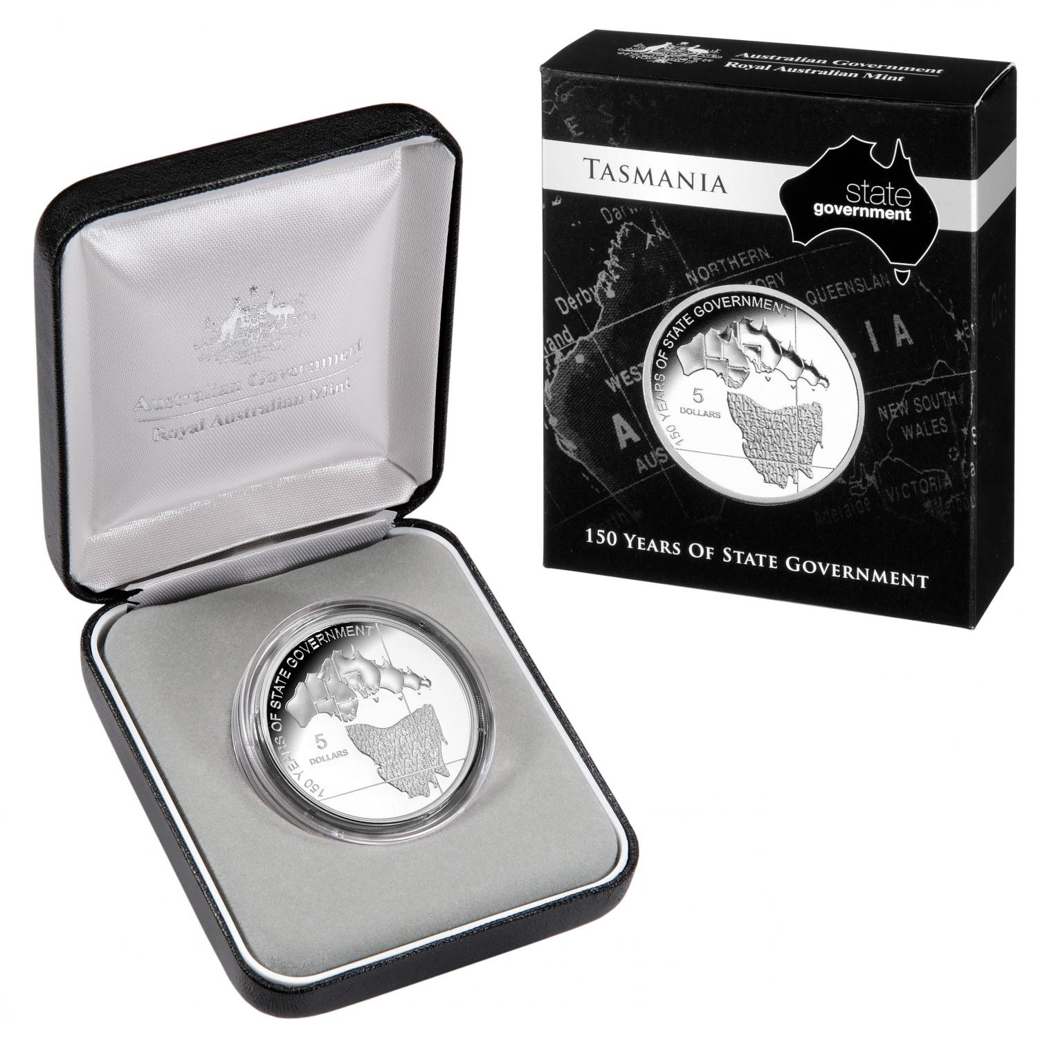 Thumbnail for 2006 $5.00 Silver Proof Tasmania 150 Years of State Government