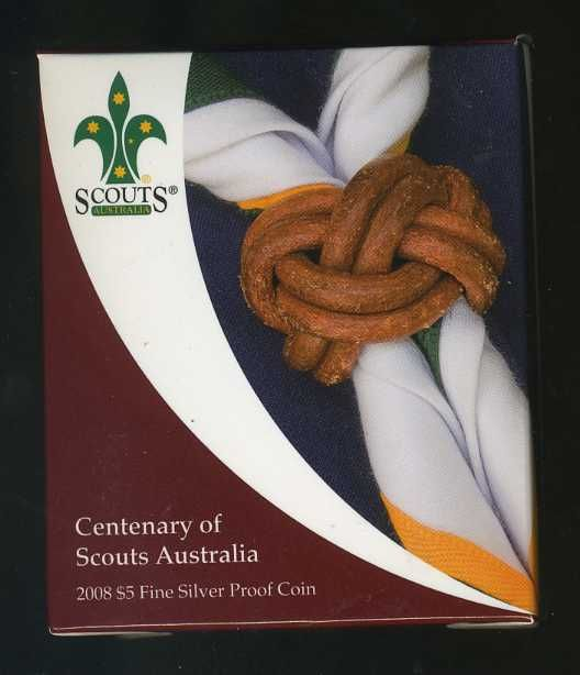 Thumbnail for 2008 $5 Fine Silver Proof Coin - Centenary of Scouts Australia