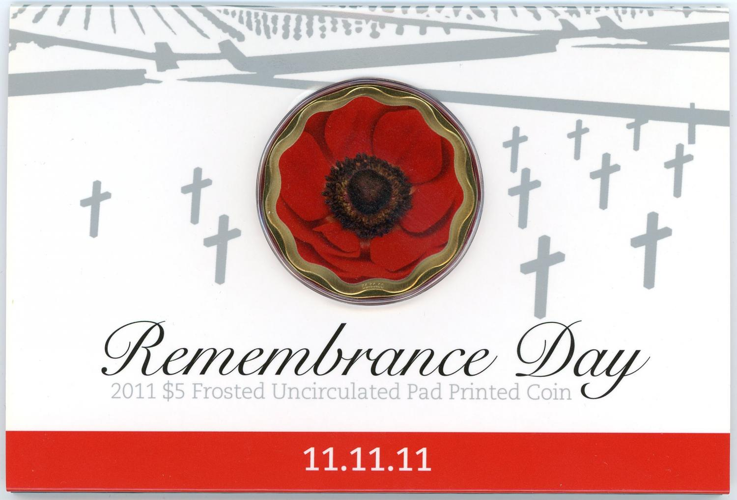 Thumbnail for 2011 Remembrance Day Coloured $5 UNC Coin