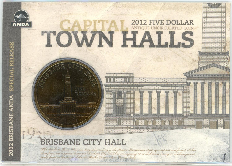 Thumbnail for 2012 $5 Antique UNC Coin Capital Town Halls - Brisbane