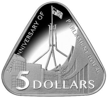 Thumbnail for 2013 $5.00 Triangular Silver Proof Coin - 25th Anniversary of Australian Parliament House