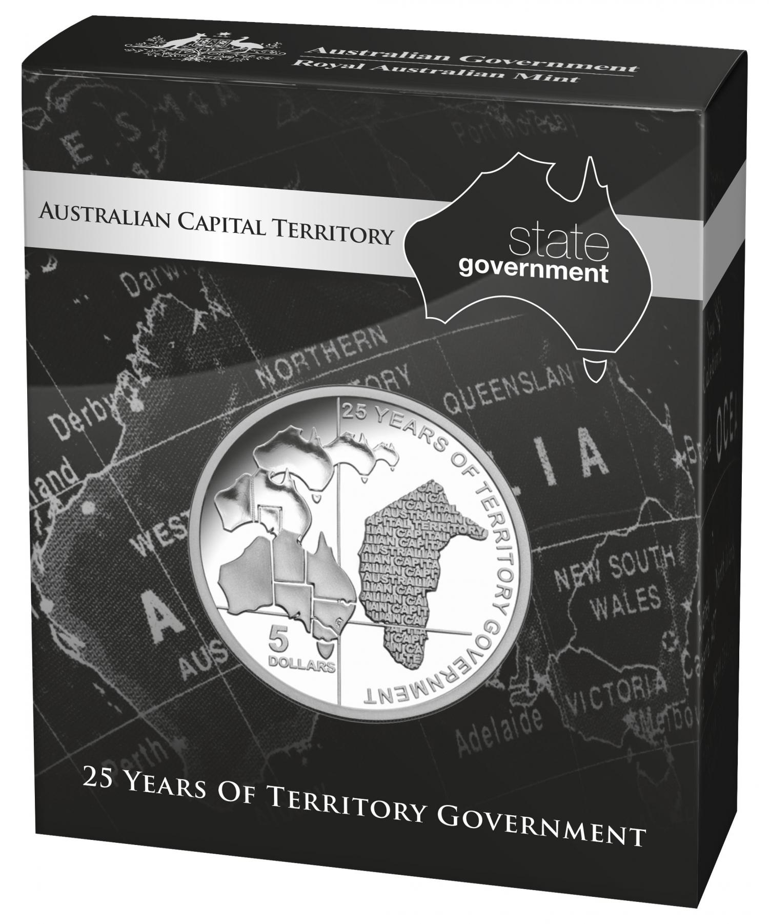 Thumbnail for 2014 $5.00 Silver Proof Australian Capital Territory 25 Years of Territory Government