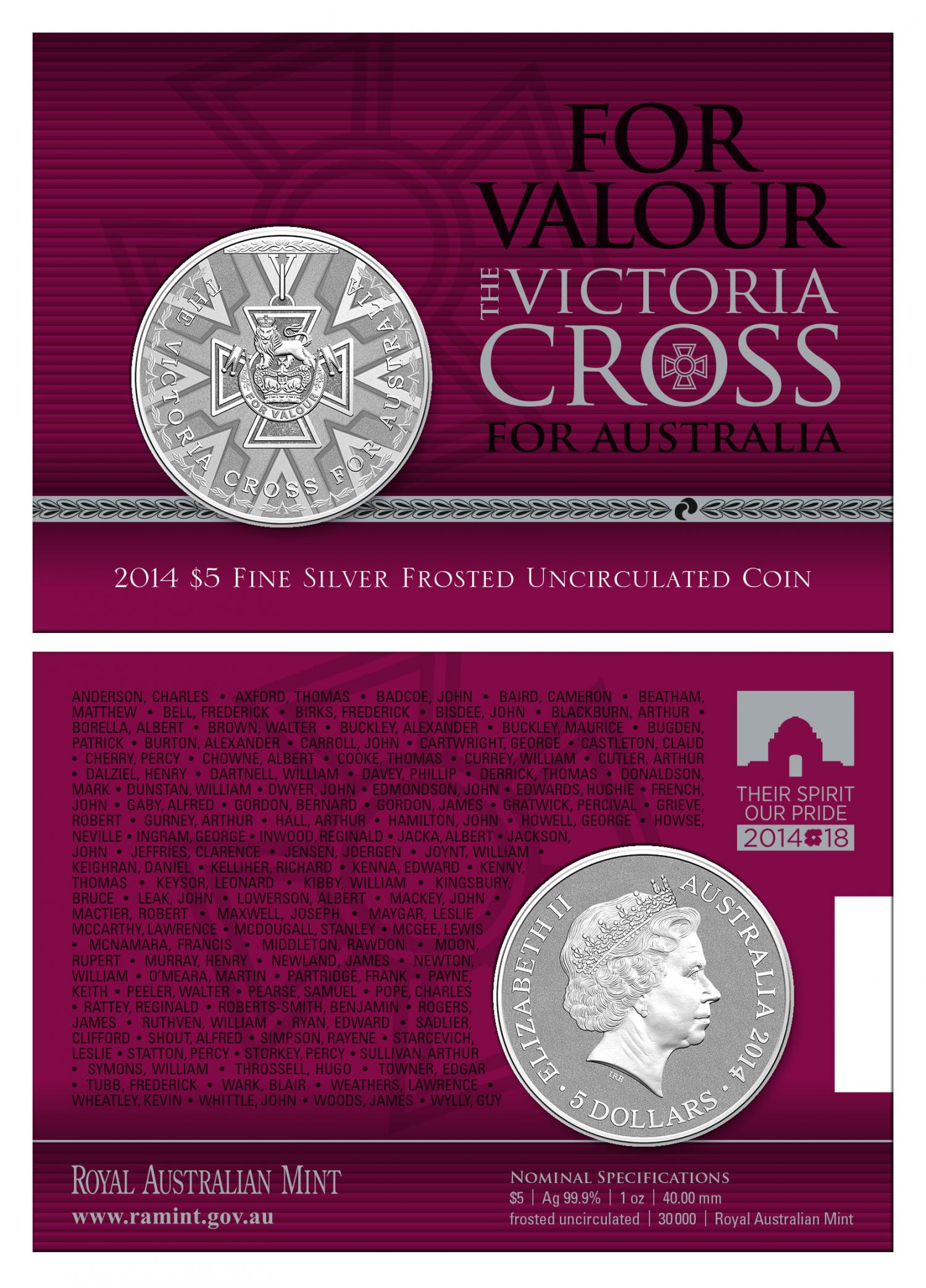 Thumbnail for 2014 Victoria Cross 1oz Fine Silver