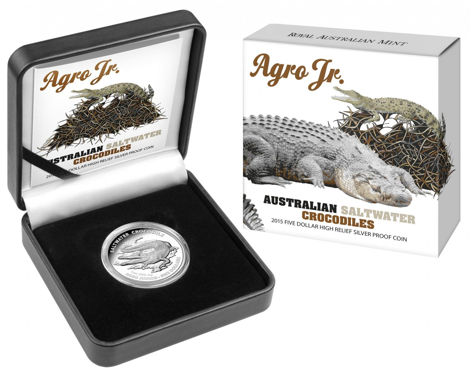 Thumbnail for 2015 $5 High Relief Silver Proof Coin - Saltwater Crocodiles Agro Jr.