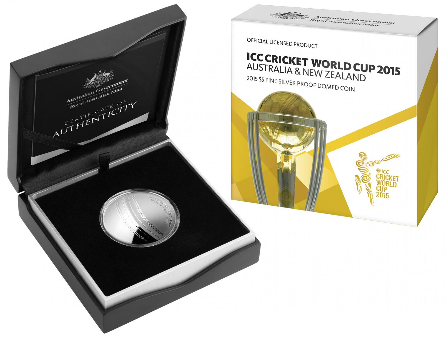 Thumbnail for 2015 ICC Cricket World Cup $5.00 Silver 1oz Proof Domed Coin