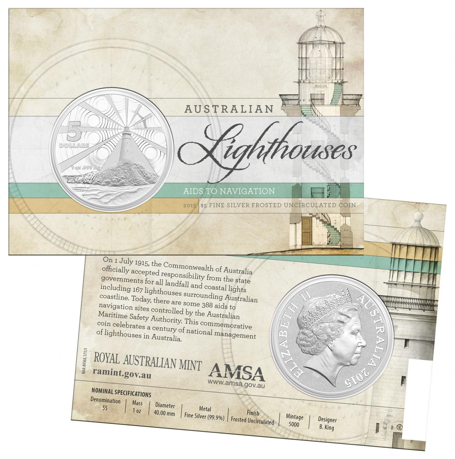 Thumbnail for 2015 Australian Lighthouses $5.00 Frosted Uncirculated Coin