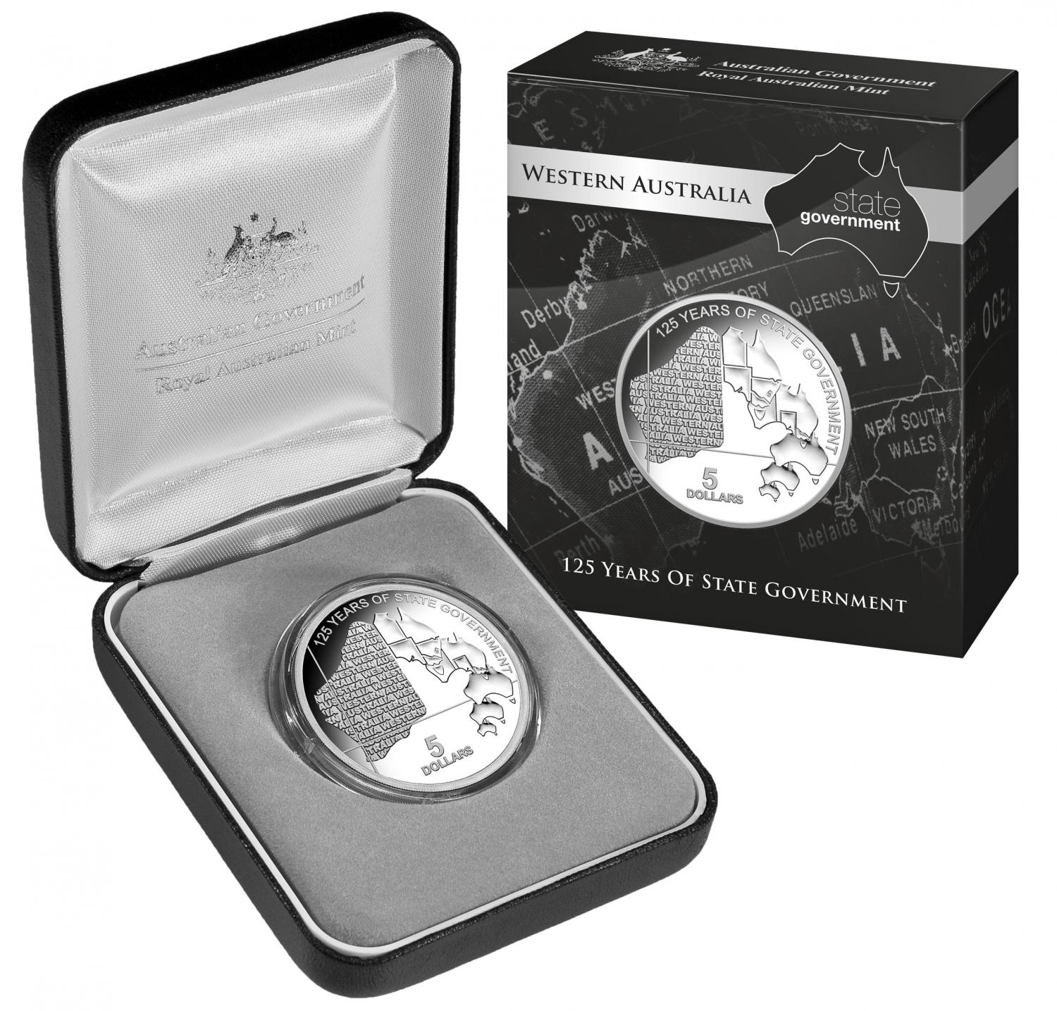 Thumbnail for 2015 $5.00 Silver Proof Western Australia 125 Years of State Government