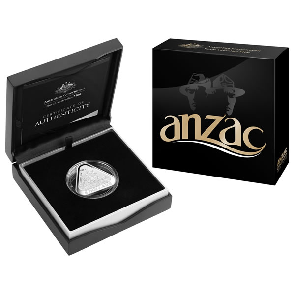 Thumbnail for 2015 $5 Fine Silver Proof Anzac Five Dollar Triangular Coin