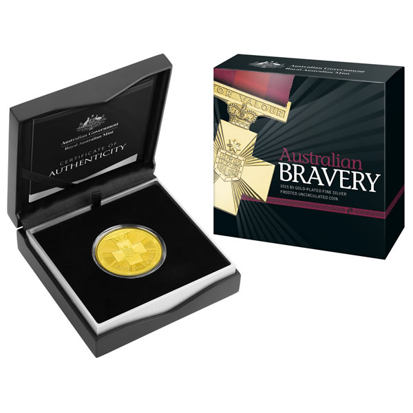 Thumbnail for 2015 $5 Australian Bravery Gold Plated Fine Silver Frosted Coin