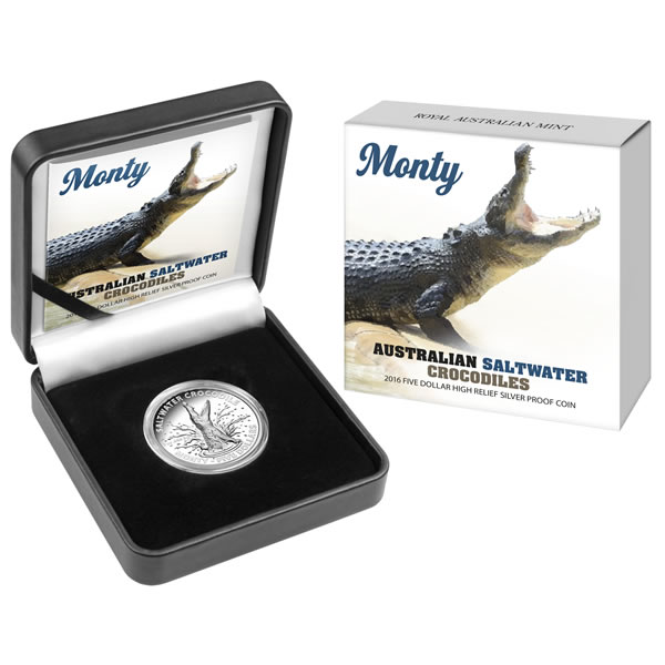 Thumbnail for 2016 $5 High Relief Silver Proof Coin - Australian Saltwater Crocodiles