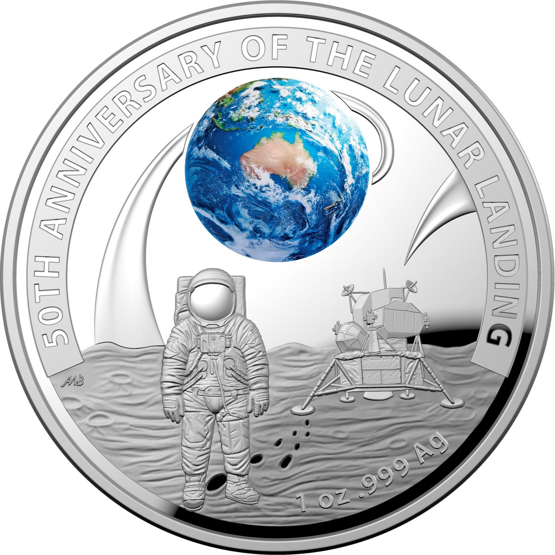 2019 5 00 Coloured Silver Two Coin Proof Set Apollo 11 Moon Landing