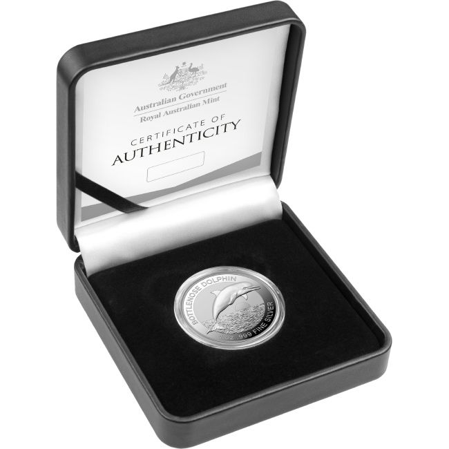 Thumbnail for 2019 Australian Bottlenose Dolphin 1oz High Relief Silver $5.00 Proof