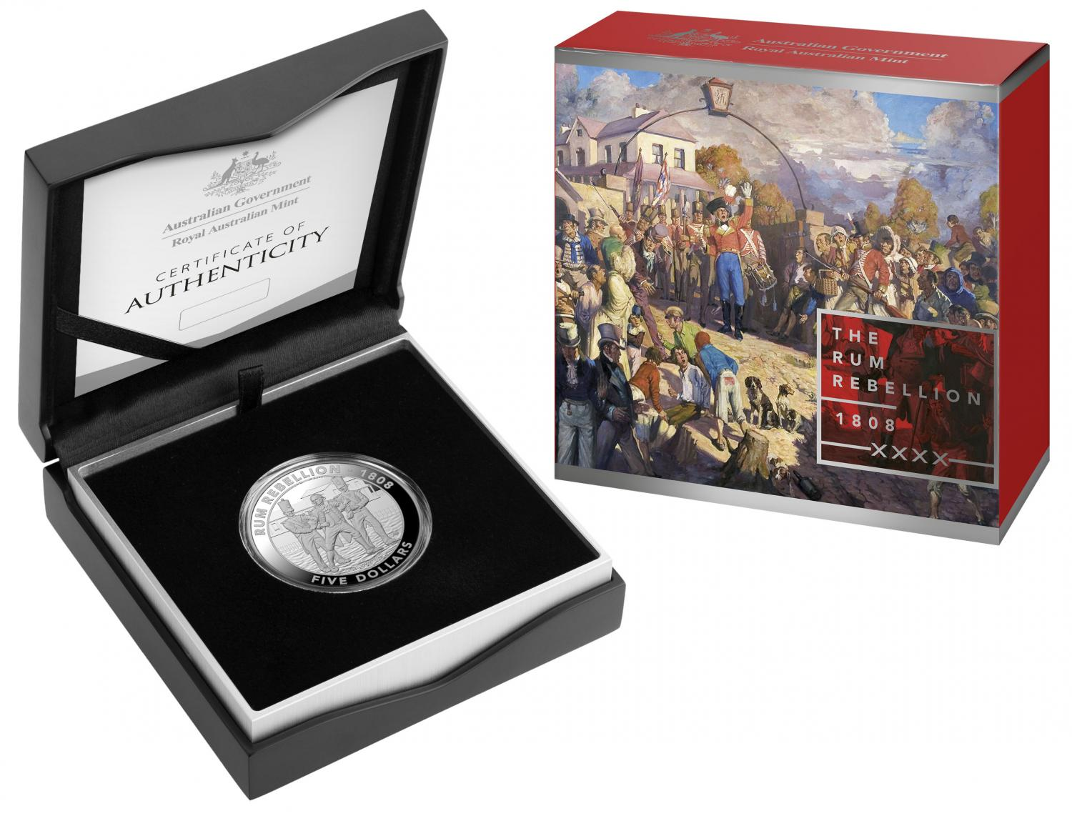 Thumbnail for 2019 Mutiny and the Rebellion $5.00 Silver Proof - The Rum Rebellion