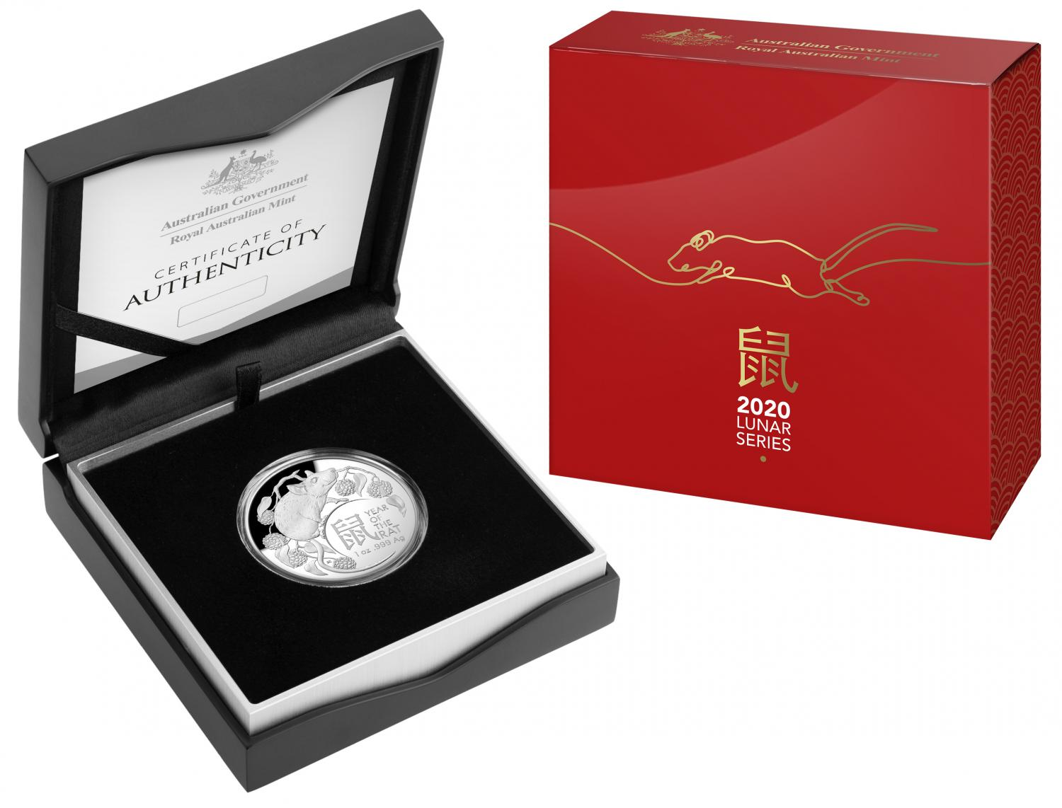 Thumbnail for 2020 Lunar Year of the Rat $5.00 1oz Silver Domed Proof Coin