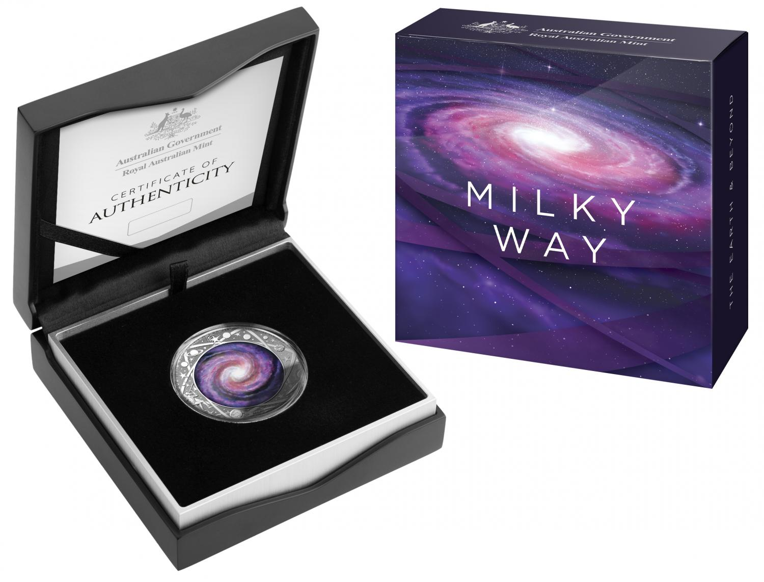 Thumbnail for 2021 The Earth and Beyond Milky Way $5.00 Coloured Silver Proof Domed Coin