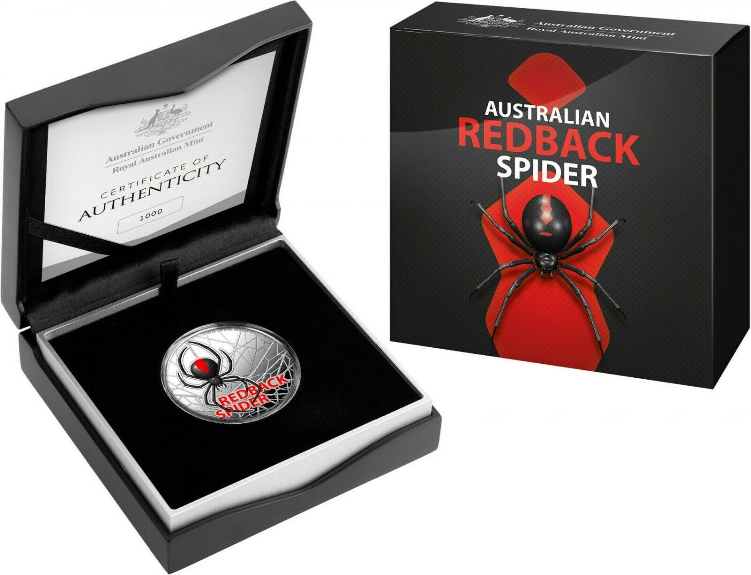 Thumbnail for 2021 Royal Australian Mint Coloured Silver $5.00 Proof Redback Spider