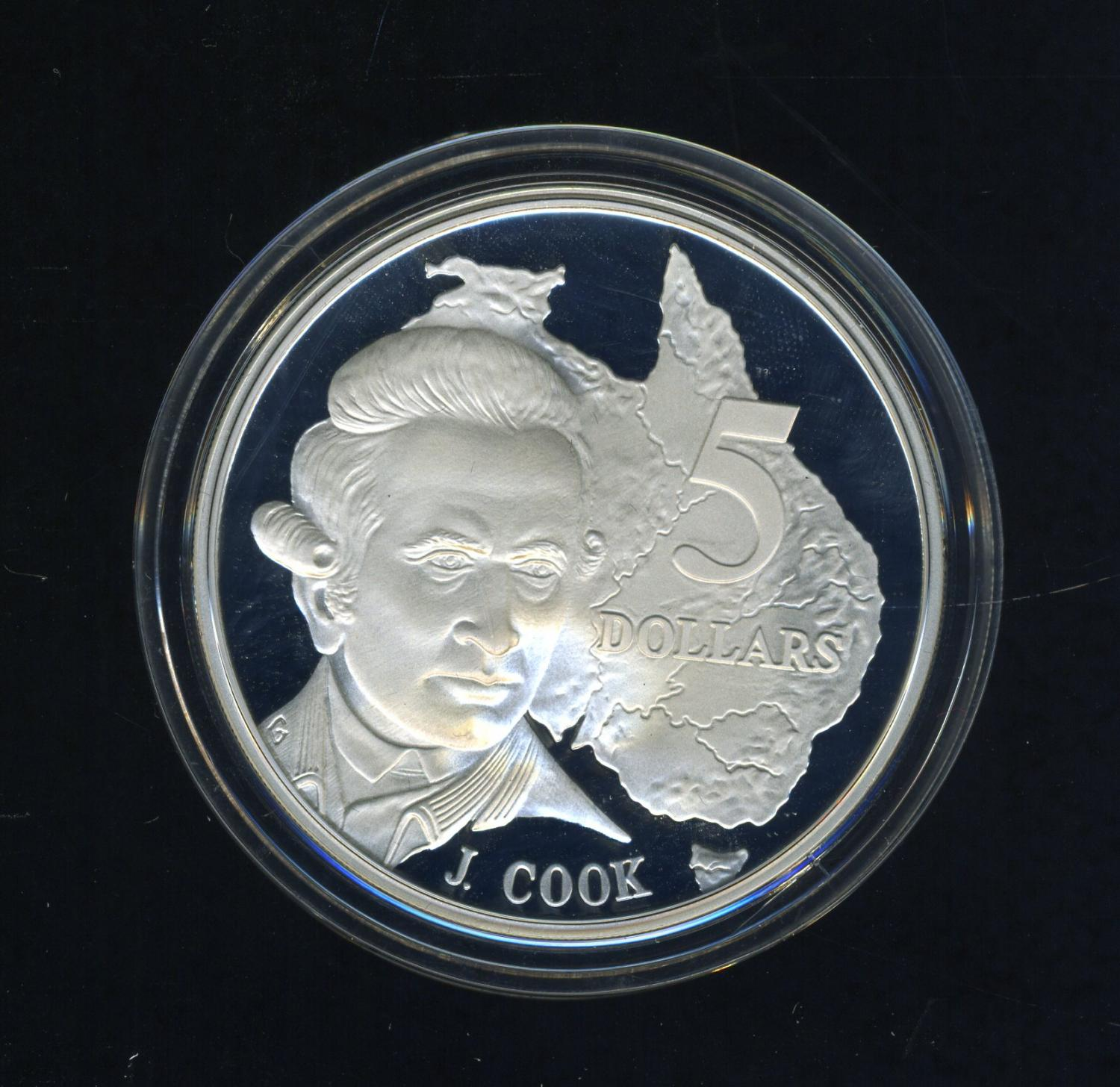 Thumbnail for 1993 Australian $5 Silver Coin from Masterpieces in Silver Set - James Cook.  The Coin is Sterling Silver and contains over 1oz of Pure Silver.