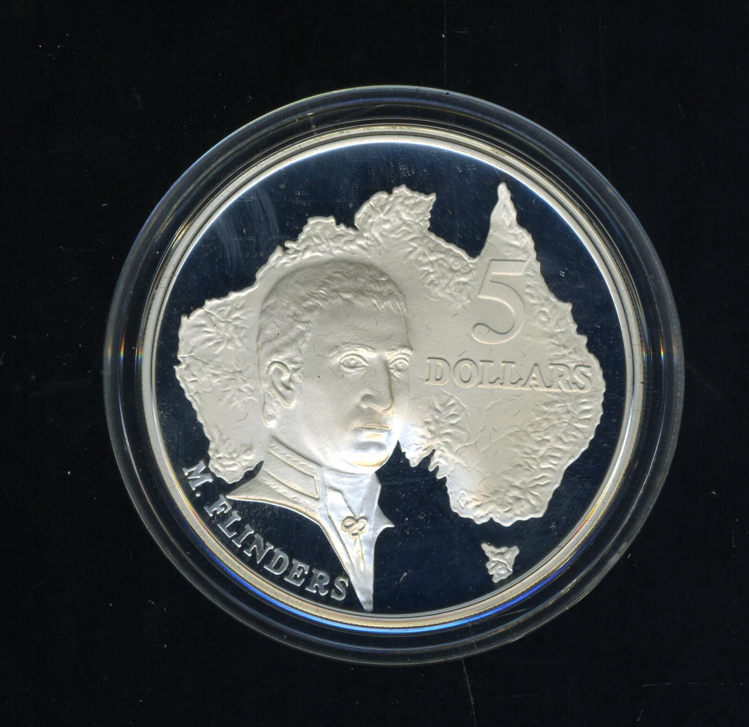 Thumbnail for 1993 Australian $5 Silver Coin from Masterpieces in Silver Set - Matthew Flinders.  The Coin is Sterling Silver and contains over 1oz of Pure Silver.
