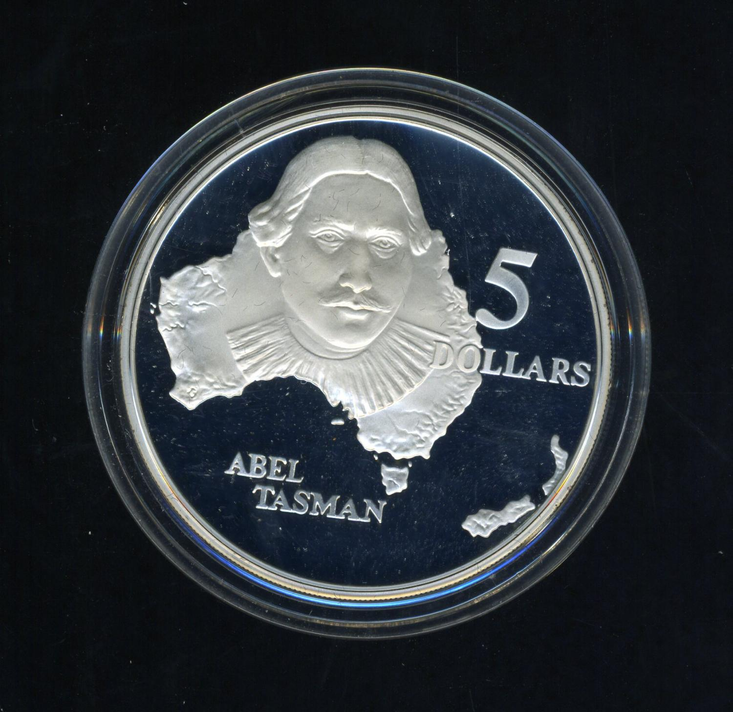 Thumbnail for 1993 Australian $5 Silver Coin from Masterpieces in Silver Set - Abel Tasman.  The Coin is Sterling Silver and contains over 1oz of Pure Silver.