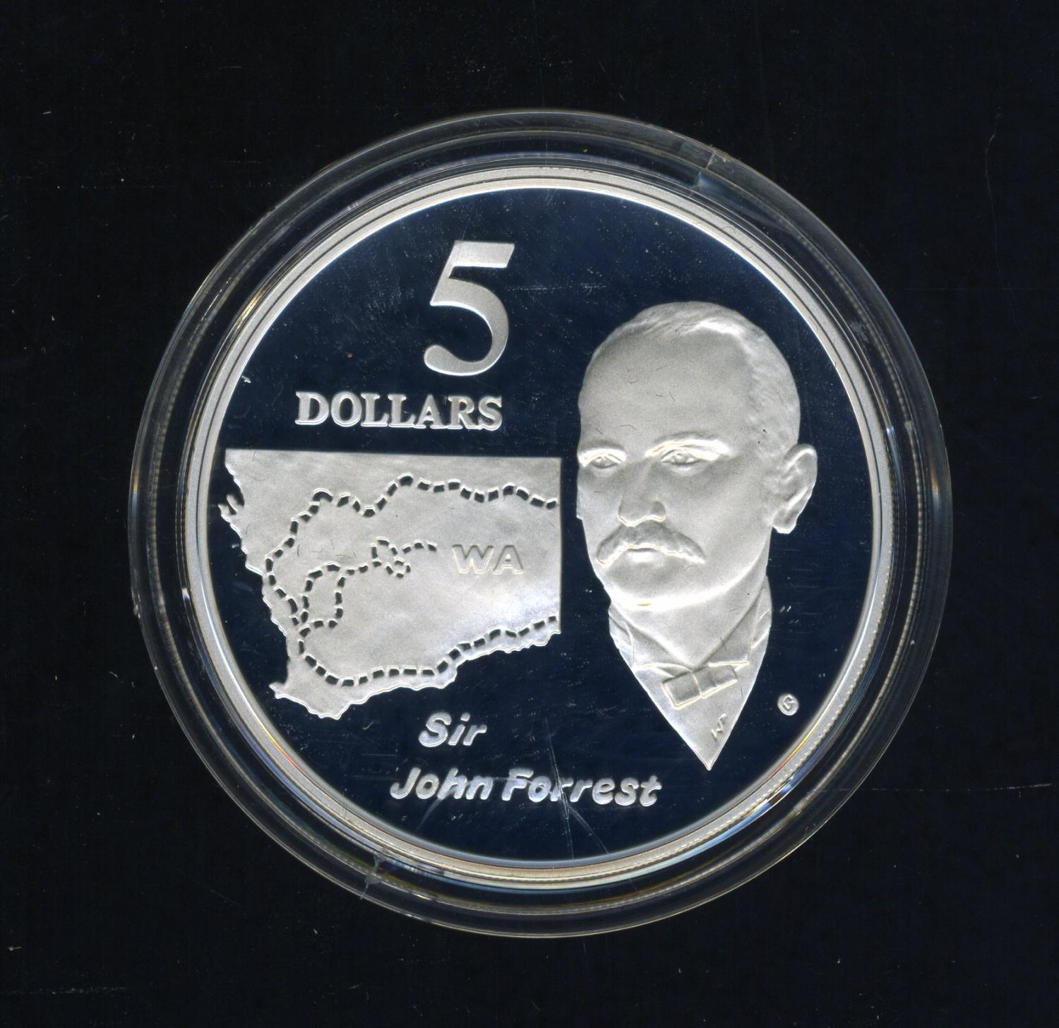 Thumbnail for 1994 Australian $5 Silver Coin From Masterpieces in Silver Set - John Forrest.  The Coin is Sterling Silver and contains over 1oz of Pure Silver.