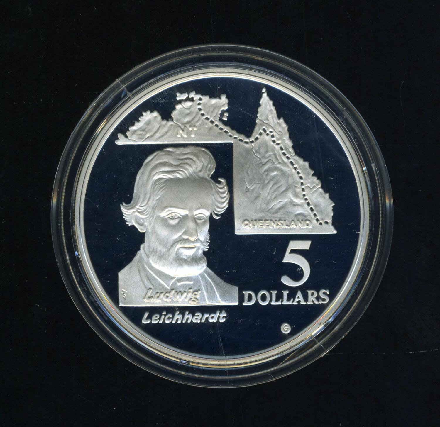 Thumbnail for 1994 Australian $5 Silver Coin From Masterpieces in Silver Set - Leichhardt.  The Coin is Sterling Silver and contains over 1oz of Pure Silver.