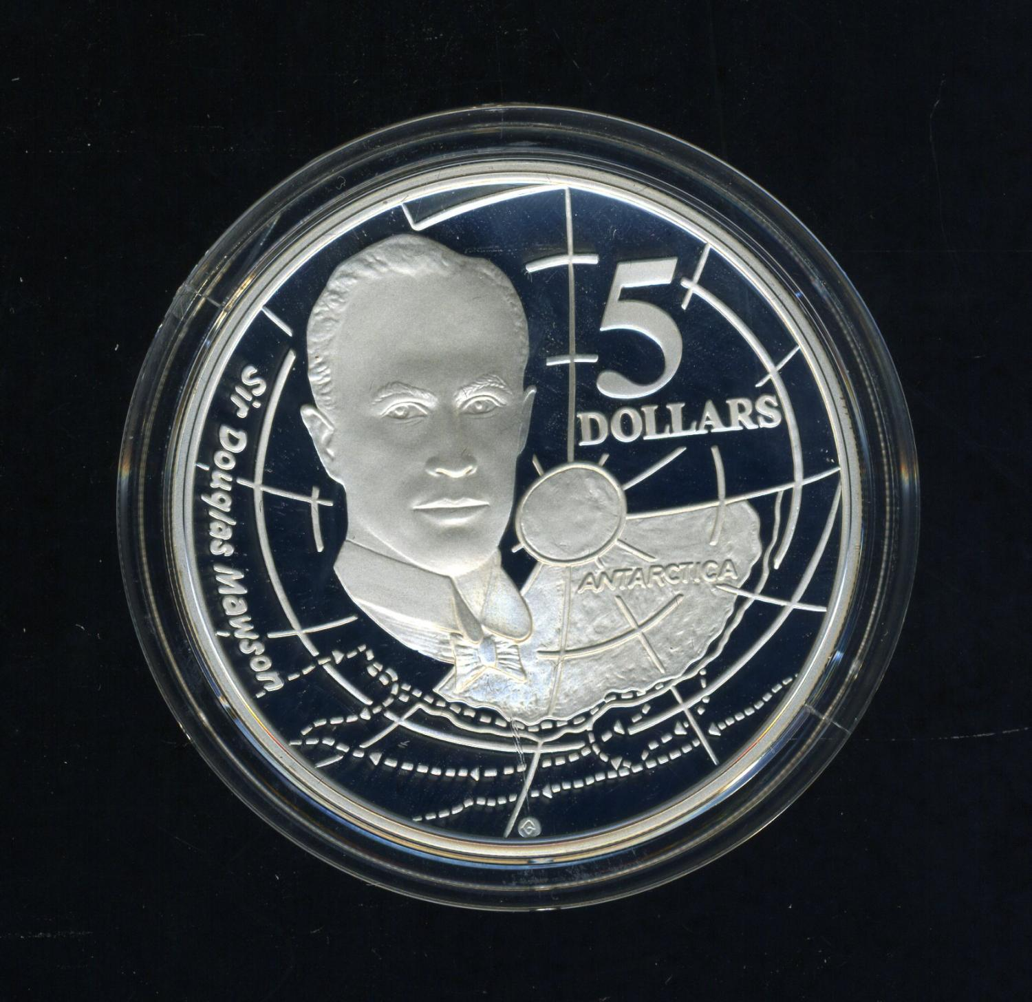 Thumbnail for 1994 Australian $5 Silver Coin From Masterpieces in Silver Set - Sir Douglas Mawson.  The Coin is Sterling Silver and contains over 1oz of Pure Silver.